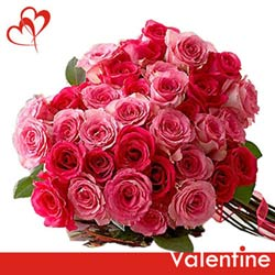 gift online mixed shades of pink roses to belgaum